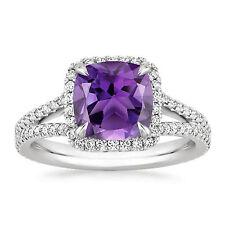 Solid 14k White Gold Natural Amethyst Ring 3.05 ct Diamond Gemstone Rings kKL