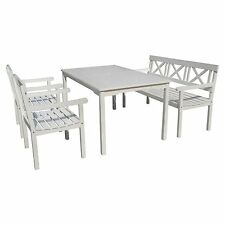 Tischgruppe,Sitzgruppe,Gartenmöbel,Eukalyptus Holz,weiß lackiert,Schwedenlook