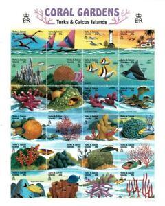 Turks and Caicos - 1999 - Coral Gardens - Sheet of Twenty Four - MNH
