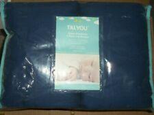 4 pc set Tillyou Cotton Breathable Baby Crib Bumper Navy Standard Size Crib nip