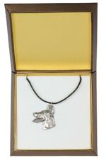 Doberman pincher type 2 - silver covered necklace with dog, in box, Art Dog USA