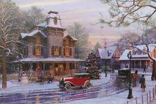 Snowy Christmas street scene with glittering tree canvas LED print