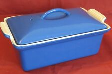 Vintage Terrine Blue Enameled Cast Iron loaf baking Pan w/ Lid Le Creuset Style