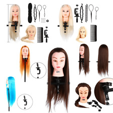 Practice Training Head Human Long Hair Salon Model Hairdressing Mannequin Doll G
