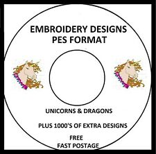 UNICORNS & DRAGONS EMBROIDERY DESIGNS, PES FORMAT BUY 2 CDS GET A FREE FONT CD