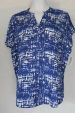NEW Womens Casual V-Neck Top Small Ladies Shirt Blue Blouse Soft Rayon