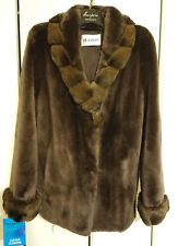 Beautiful Sheared Beaver Fur Coat with Chinchilla Collar and Cuffs