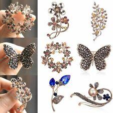 Fashion Flower Branch Crystal Brooch Pin Party Women Wedding Jewelry Xmas Gift