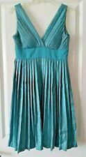 Max & Cleo Empire Waist Dress Mist Blue Accordion Pleats Retail $174 Size 6