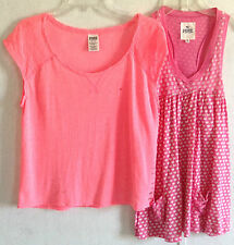 Lot of 2 Victoria's Secret PINK Lace Back Tee T-Shirt Tunic Tank Top Love Dog XS