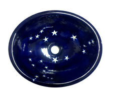 #102 SMALL BATHROOM SINK 16x11.5 MEXICAN CERAMIC HAND PAINT DROP IN UNDERMOUNT