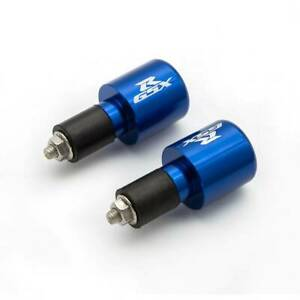 For GSXR600 1000 Blue Bar Ends Bar End Weight For GSXR Logo & End Cap Cover Ex