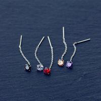 Damen Ohrringe Durchzieher Zirkonia 5 Farben Echt Sterling Silber 925