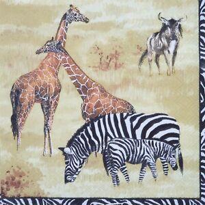 4 x Paper Napkins Serviettes Decoupage Napkins African Safari Giraffes Zebra New