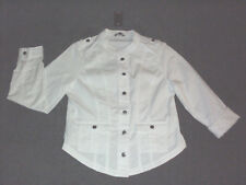Katies: Size: 10-12. Modern White 2 Front Pockets, Metal-Button Military Jacket
