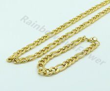"24"" Stainless Steel 8mm Gold Figaro Link Chain Necklace Bracelet Set"