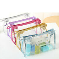 Women Clear Transparent Plastic PVC Travel Zipper Cosmetic Make Up Toiletry Bag!
