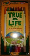 Crayola True To Life 8 Tri Colored Tips Crayons Discontinued Rare New Sealed Pkg