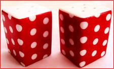 Red Dots Salt & Pepper Cruet Set Square Ceramic Porcelain Red Cruet Set