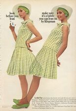 1966 Leslie Fay Fashion Polyester Crepe Houndstooth Check Dress PRINT AD