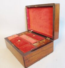 "Large Antique 19th C. English Rosewood Jewelry Box c. 1870s  12"" x 8.5"""