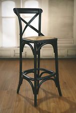 4 x Bar Stool Antique Black Cross Back French Provincial Birch Cafe Barstool NEW
