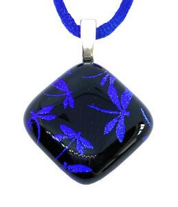 Handmade Glass Pendant Dragonfly Dichroic Glass Pendant Necklace 2cm x 2cm