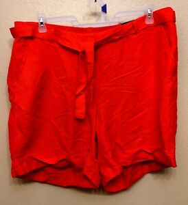 Lane Bryant 55% Linen 45% Rayon Coral Red Tie Waist High Rise Shorts Size 18/20