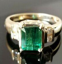 Beautiful Teal Blue Green Tourmaline Diamond 14k yellow gold ring
