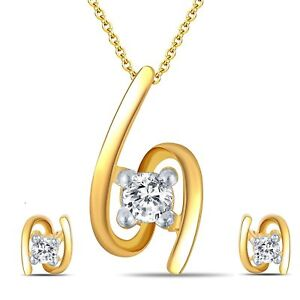 14k Yellow Gold Over Solitaire Round Cut Diamond Studs And Pendant Jewelry Set