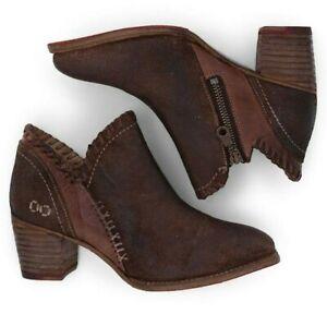 Bed Stu Carla Bootie Women's Heel Short Boots in Teak Leather Size 8.5