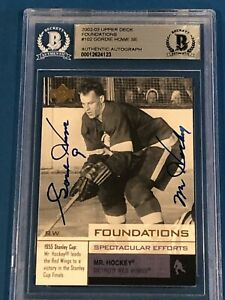 GORDIE HOWE Signed 2002-03 UPPER DECK FOUNDATIONS Card #102 SE Beckett w/ Insc