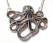 SILVER STEAMPUNK OCTOPUS NECKLACE bronze Cthulhu HP Lovecraft Kraken Nautical R6