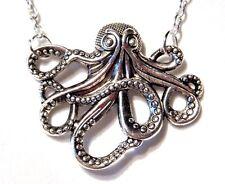 SILVER STEAMPUNK OCTOPUS NECKLACE Cthulhu HP Lovecraft Kraken squid Nautical R6