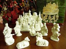 10 Pcs. Used Christmas International Bazaar Ivory & Gold Nativity Set Lighted