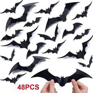 48PCS 3D Black Bats Window Wall Stickers Halloween Vivid Decal Home DIY Decor UK