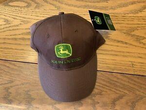 John Deere Brown One Size Fits All Ball Cap Hat Advertising Farm Memorabilia NWT