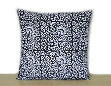 "New Indian Hand Block 16"" Cushion Cover Black & White Floral Pillow Case Covers"