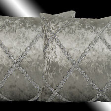 2X SHINNY SILVER DECO SMOOTH GREY VELVET THROW PILLOW CASES CUSHION COVERS 17""