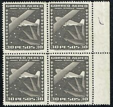 CHILE 1934 AIR MAIL STAMP # 238 MNH wmk 1 AIRPLANE BLOCK OF FOUR