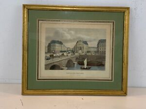 "Vintage ""Fontaine St. Michel Boulevard St. Michel"" Hand Colored Engraving Framed"