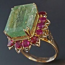 Huge, Rare, Solid 14K Yellow Gold, Approx. 15.0 ct Emerald & 2.80 cttw Ruby Ring