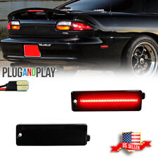 2x Smoked Lens Red Led Rear Bumper Side Marker Lights For 1993 2002 Chevy Camaro