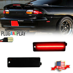 2x Smoked Lens Red LED Rear Bumper Side Marker Lights For 1993-2002 Chevy Camaro