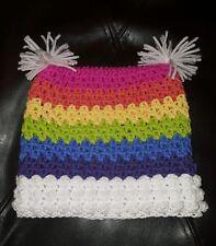 HANDMADE CROCHET HAT FOR CHILDREN WHITE/RAINBOW STRIPE 20 INCH CIRCUMFERENCE