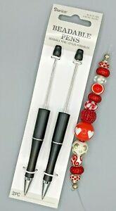 3 pc Beaded Pen Kit, 2 Black Plastic Pens, 1 Strand Large Hole Beads, B-A474