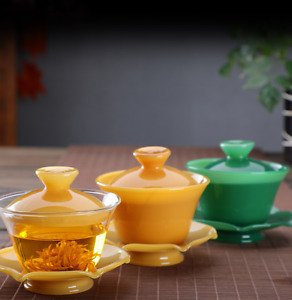 Borosilicate glass gaiwan cup bowl with cover Chinese tureen traditional craft