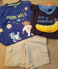 Gymboree STRIPES IN SPACE 3PC SET Monkey Moonwalk/Bananas 3T NWT shirts/shorts
