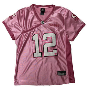 Green Bay Packers #12 Aaron Rodgers Jersey YOUTH XL Pink Reebok Sewn NFL Girls