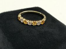 Tiffany & Co. 3mm Shared Yellow Sapphire Diamond Band Ring in 18k Yellow Gold